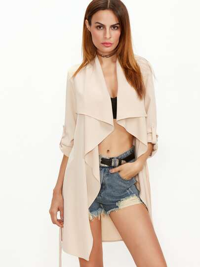 Beige Waterfall Collar Roll Sleeve Wrap Coat