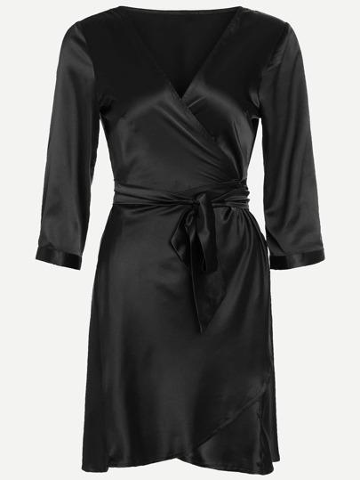 Black V Neck Wrap Tie  Pajamas Dress