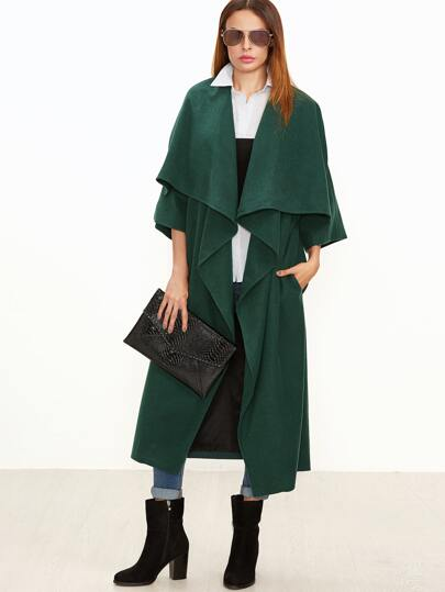 Green Oversized Drape Collar Kimono Sleeve Duster Coat