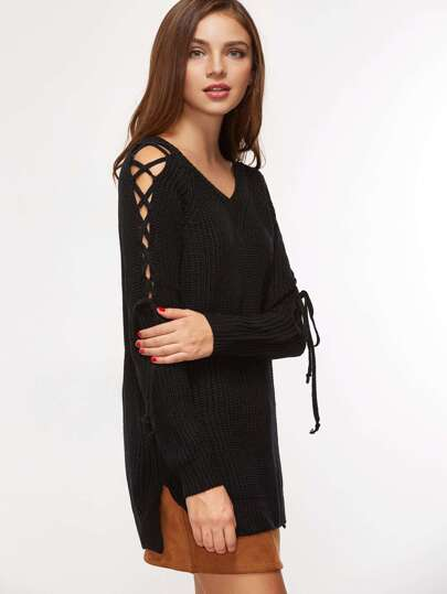 Black Lace Up Sleeve Ribbed Knit Sweater