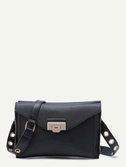 Black Zip Trim PU Double Sided Envelope Bag With Eyelet Strap