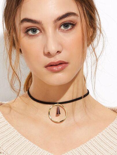 Black Band Gold Hollow Circle Crystal Choker Necklace