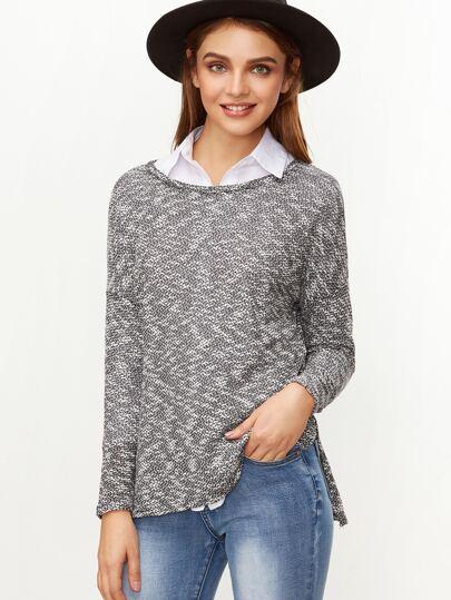 Grey Marled Drop Shoulder Side Slit T-shirt