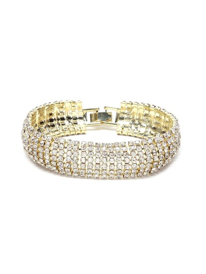 Gold Plated Rhinestone Encrusted Stylish Bangle