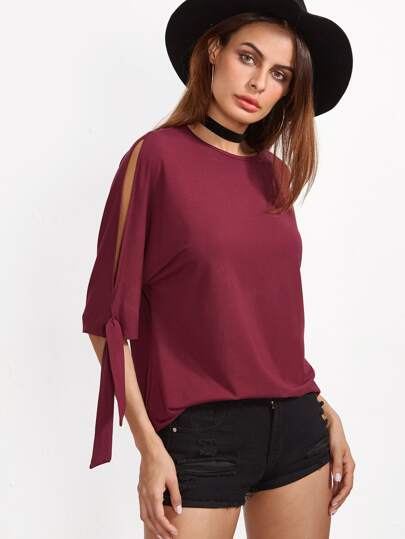 Burgundy Tied Split Sleeve T-shirt