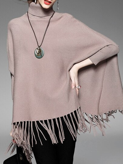 Pink High Neck Tassels Cape Blouse