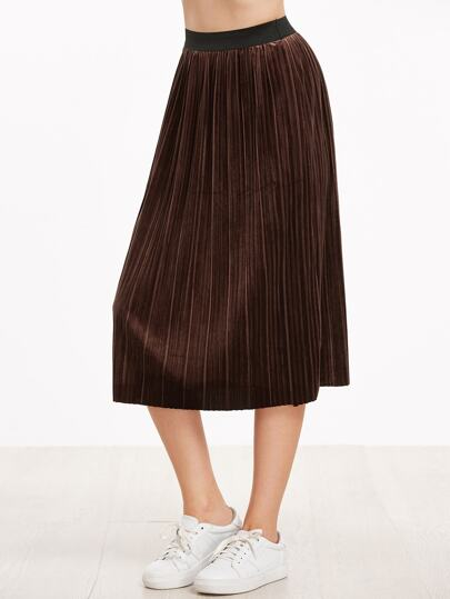 Coffee Contrast Elastic Waist Pleated Skirt