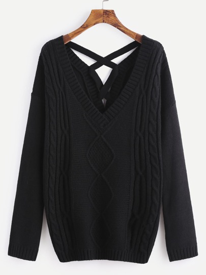 Black Mixed Knit Crisscross Back Sweater