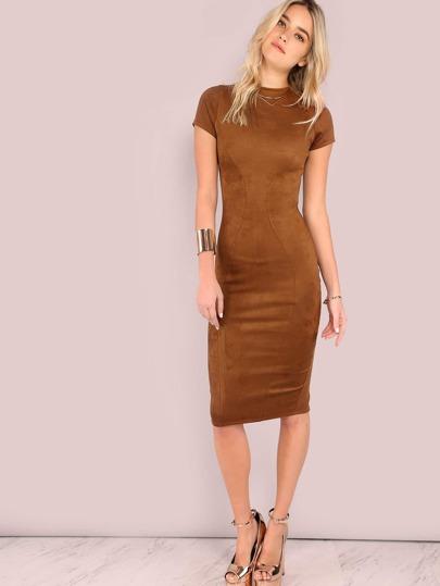 Short Sleeve Suede Bodycon Dress CAMEL