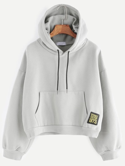 Grey Drop Shoulder Embroidered Patch Drawstring Hooded Sweatshirt