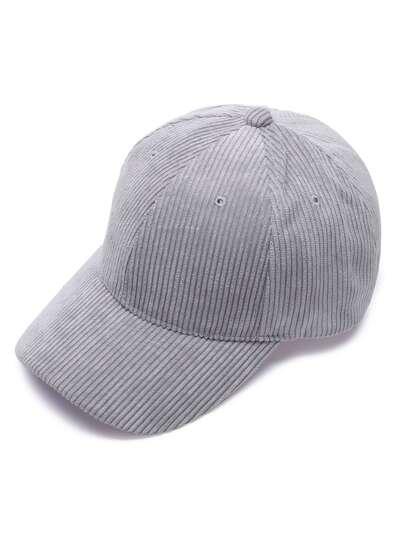 Grey Solid Color Corduroy Casual Baseball Cap