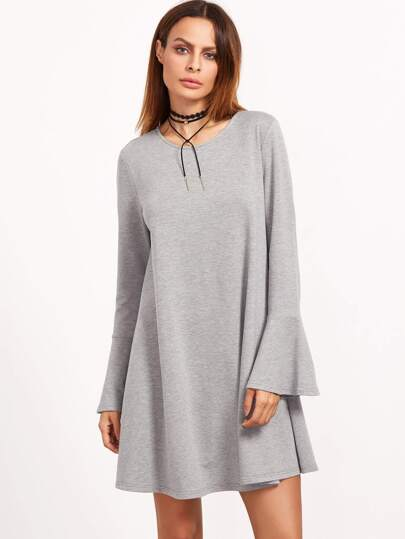 Heather Grey Round Neck Bell Sleeve Swing Dress