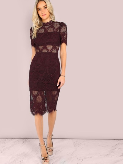 Lace Crochet Mock Neck Midi Dress PLUM
