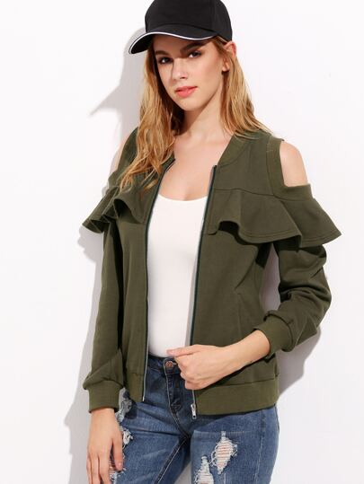 Army Green Open Shoulder Ruffle Bomber Jacket