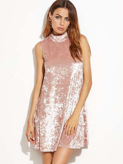 Pink Keyhole Mock Neck Sleeveless Velvet Dress