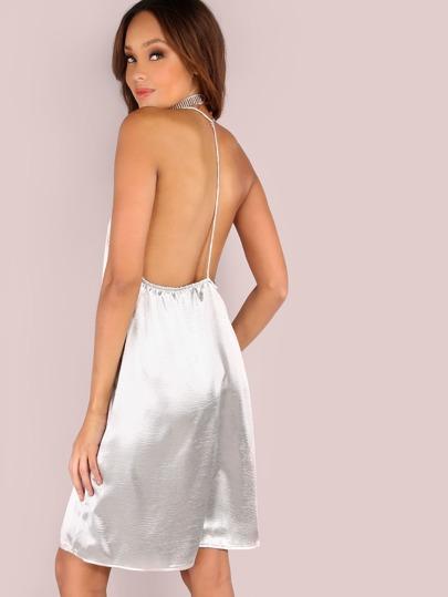 Shiny Satin Cami Dress SILVER