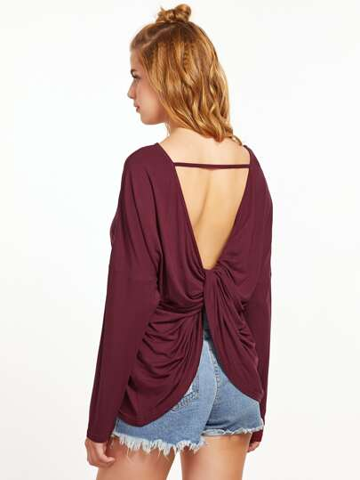 Burgundy Drop Shoulder Twisted Drape Back T-shirt