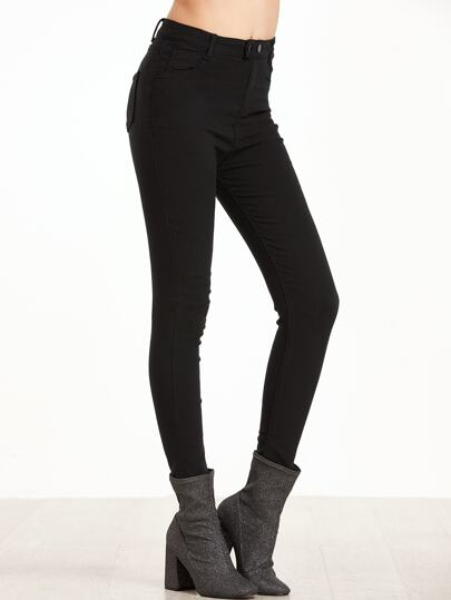 Black Skinny Pants With Button