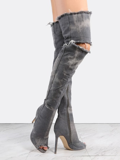 Stiletto Distressed Denim Boots GREY DENIM