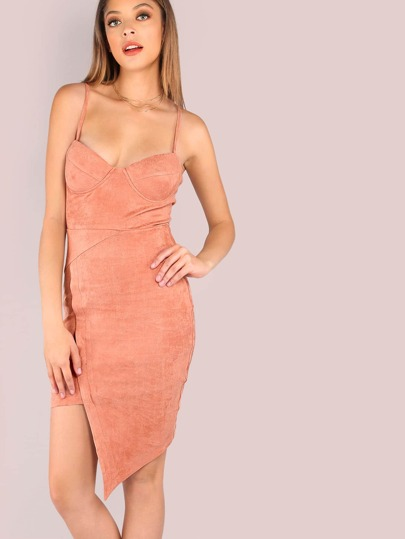 Faux Suede Cupped Asymmetrical Dress DUSTY PINK