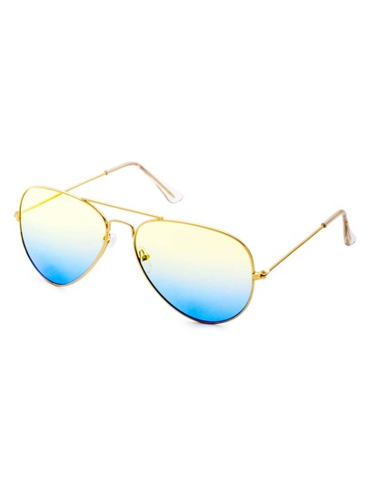 Yellow And Blue Ombre Double Bridge Aviator Sunglasses