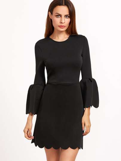 Black Scalloped Trim Bell Cuff A Line Dress