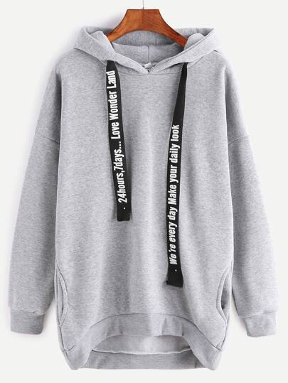 Grey Hooded Drop Shoulder Dip Hem Pockets Sweatshirt