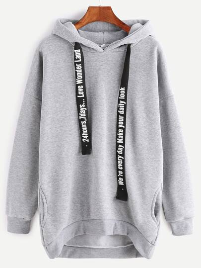 Hooded Drop Shoulder Dip Hem Pockets Sweatshirt