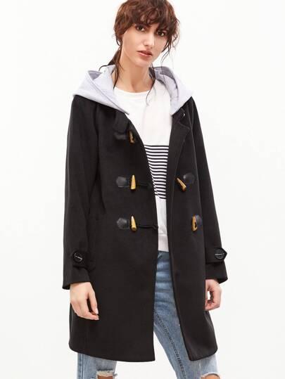 Duffel-coat manche raglan avec capuche détachable contrasté -noir