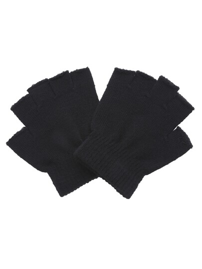 Black Knitted Fingerless Textured Gloves