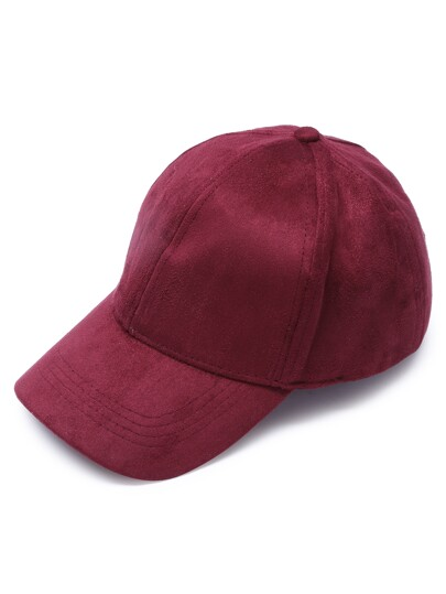 Burgundy Suede Casual Baseball Cap