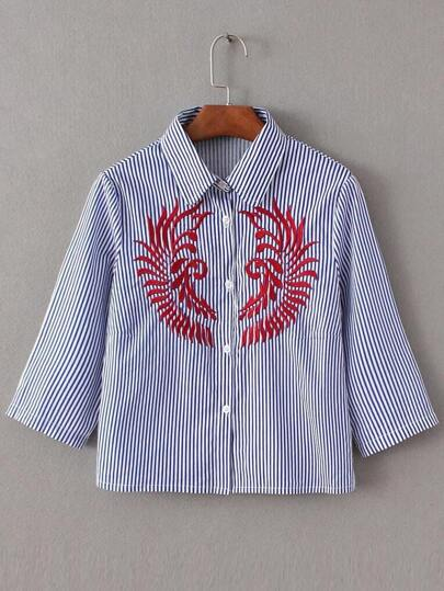 Blue Vertical Striped Embroidery Elbow Sleeve Blouse