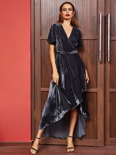 Navy Surplice Wrap High Low Velvet Dress
