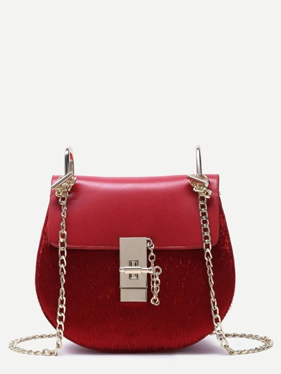 Red Horse Hair Covered PU Saddle Bag With Chain Strap