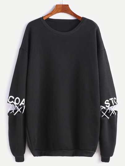 Black Drop Shoulder Letter Print Lace Up Detail Sweatshirt
