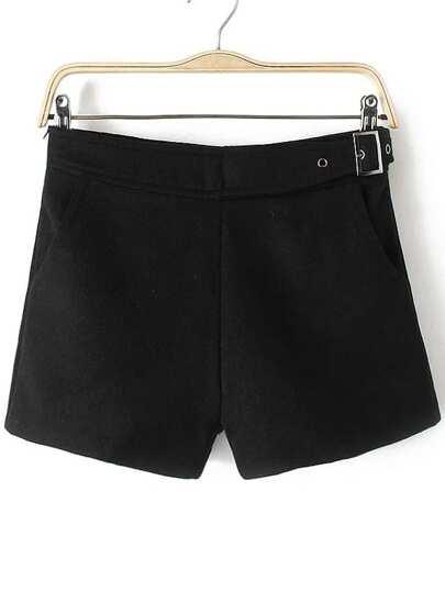kurze Hosen  mit Schanllen Reißverschluss-schwarz