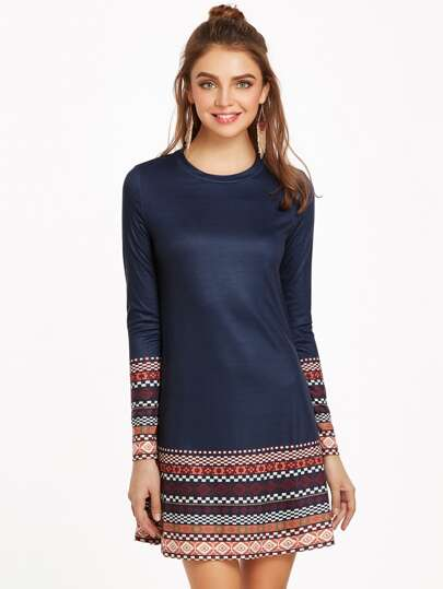 Navy Tribal Print Long Sleeve A Line Dress