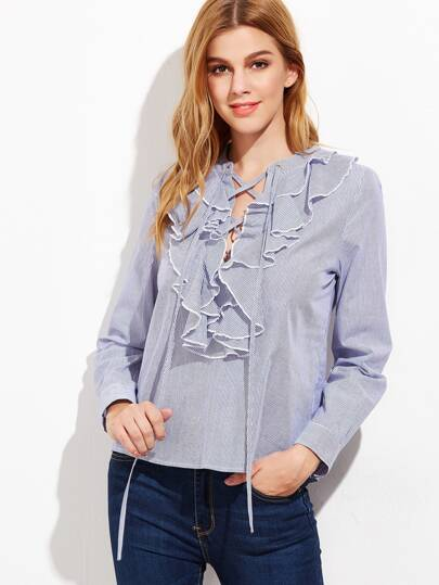 Blue And White Striped Lace Up Ruffle Blouse
