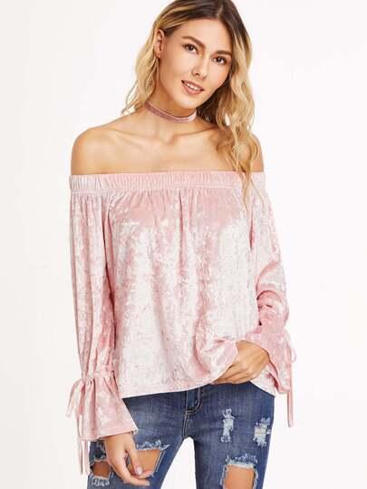 розовая бархатная блуза с открытыми плечами рукав на кулиске