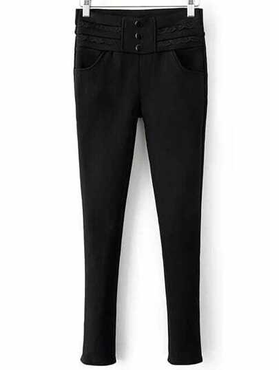 Black Button Detail High Waist Skinny Pants