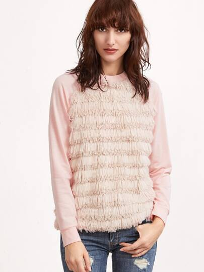 Pink Layered Fringe Trim Raglan Sleeve Split Back T-shirt