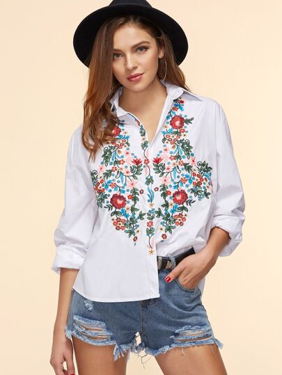 Flower Embroidered High Low Blouse