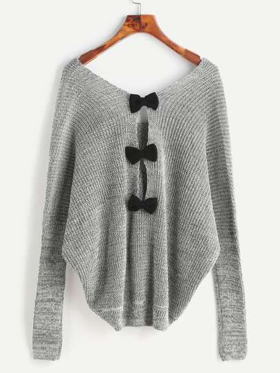 Grey Double V Neck Bow Back Slub Sweater