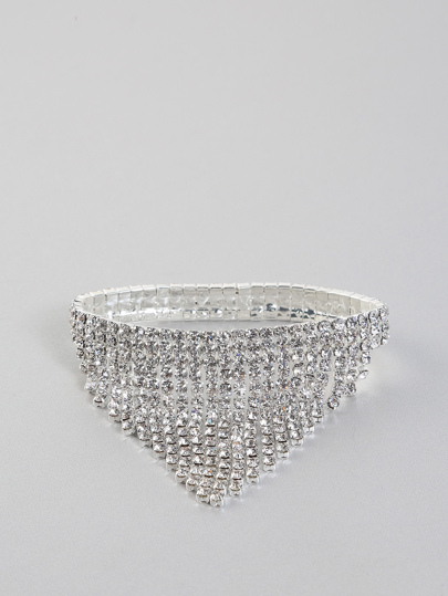 Rhinestone Fringe Bracelet SILVER
