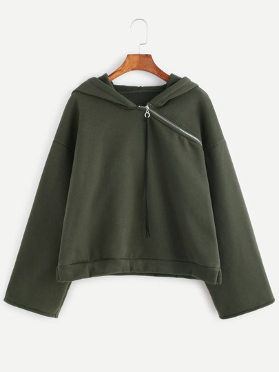 Olive Green Asymmetric Zip Neck Drop Shoulder Hoodie