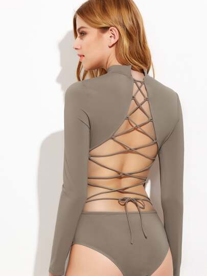Coffee Lace Up Open Back Long Sleeve Bodysuit