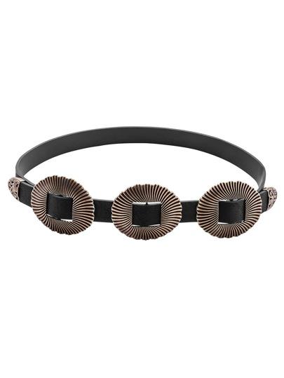 Black Triple Buckle Vintage Carved Belt