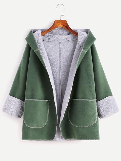 Cappotto Con Cappuccio Sherpa Tasche A Fronte - Verde