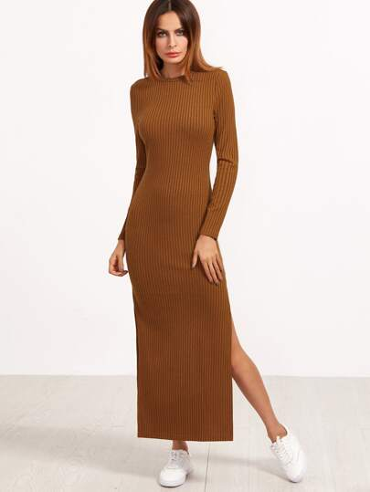 Brown Long Sleeve High Slit Ribbed Dress