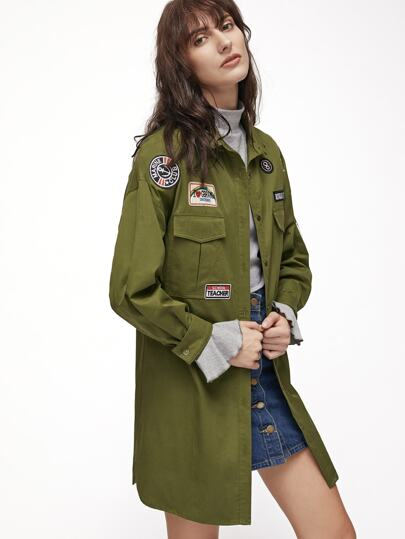 Olive Green Longline Utility Blouse With Patch Detail